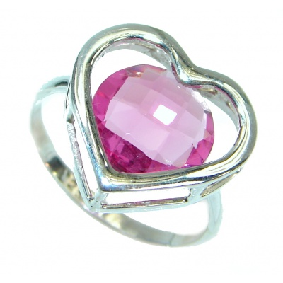 Exotic Pink Topaz .925 Silver Ring s. 6 1/4