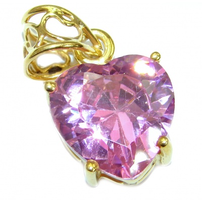 Perfect Pink Topaz 14K Rose Gold over .925 Sterling Silver handcrafted Pendant