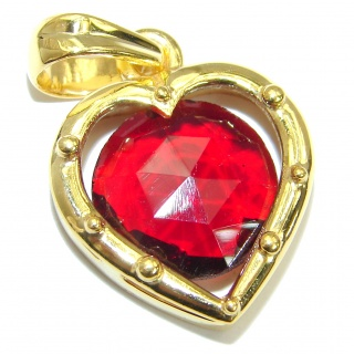 Perfect Red Topaz 14K Gold over .925 Sterling Silver handcrafted Pendant