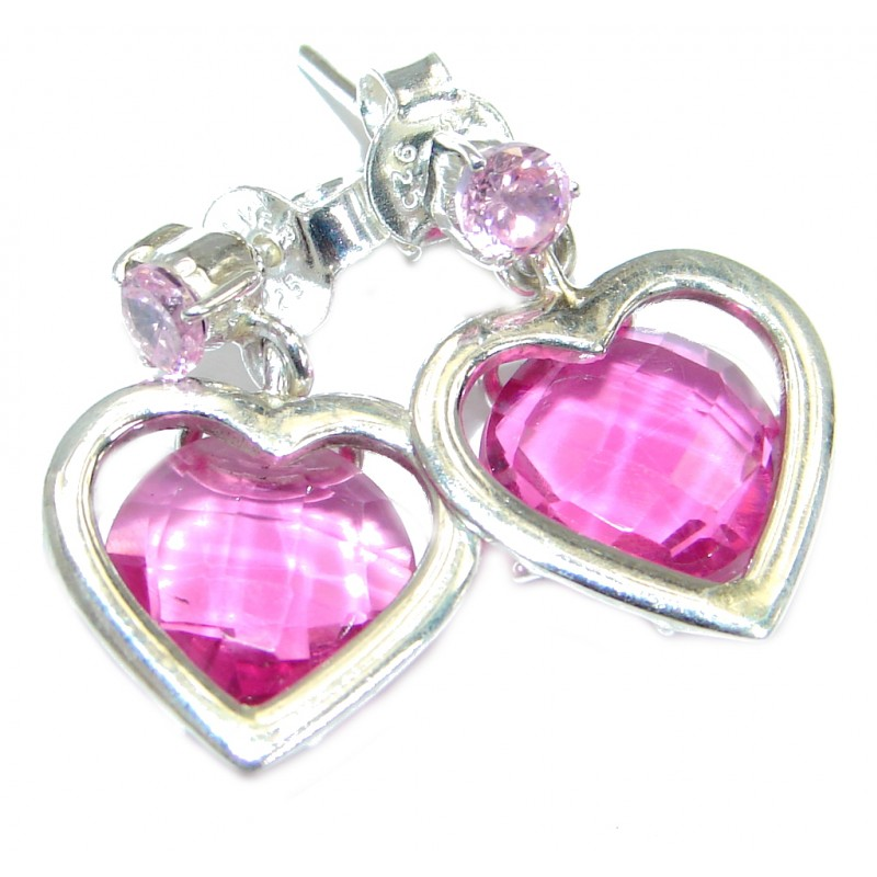 Pink Passion Topaz .925 Sterling Silver handcrafted earrings