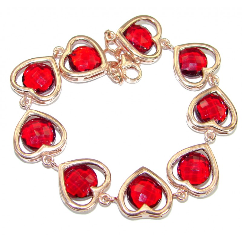 Chic Red Topaz Rose Gold .925 Sterling Silver handmade Bracelet