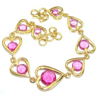 Classy Beauty Pink Topaz 14K Gold over .925 Sterling Silver handmade Bracelet