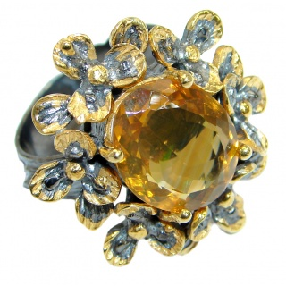 Genuine Citrine 14K Gold over .925 Sterling Silver Cocktail Ring size 7 adjustable