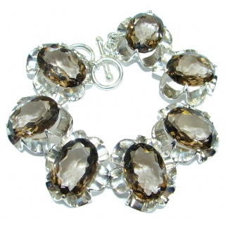 Huge Rich Design Brown Quartz .925 Sterling Silver handmade Bracelet