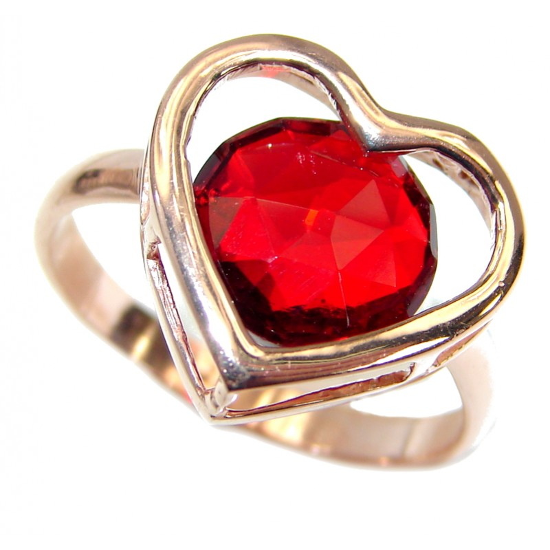 Sweet Heart Red Topaz .925 Silver handcrafted Ring s. 8