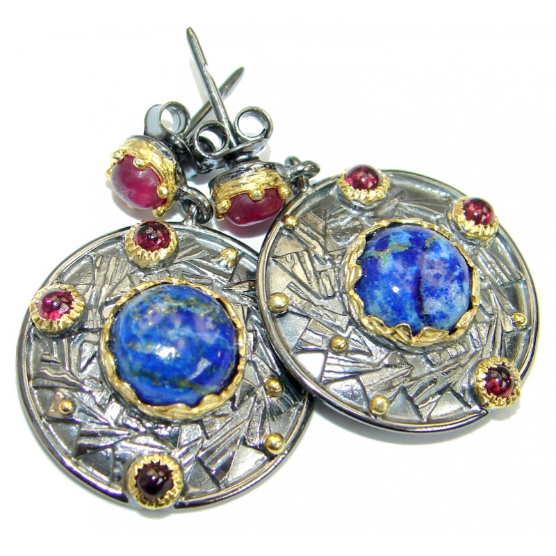 lapis rhodium earrings e cabochon lazuli en silver in jewellery