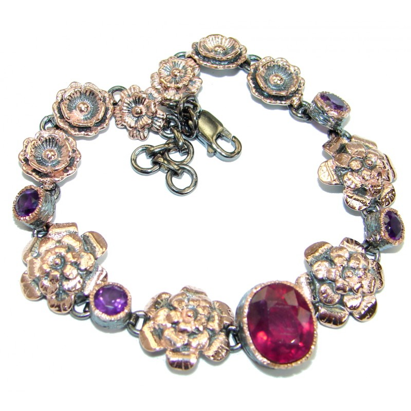 Floral Design genuine Ruby Gold over .925 Sterling Silver handcrafted Bracelet