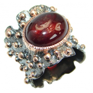 Genuine 32ct Garnet 14K Gold over .925 Sterling Silver handmade Ring size 6 3/4