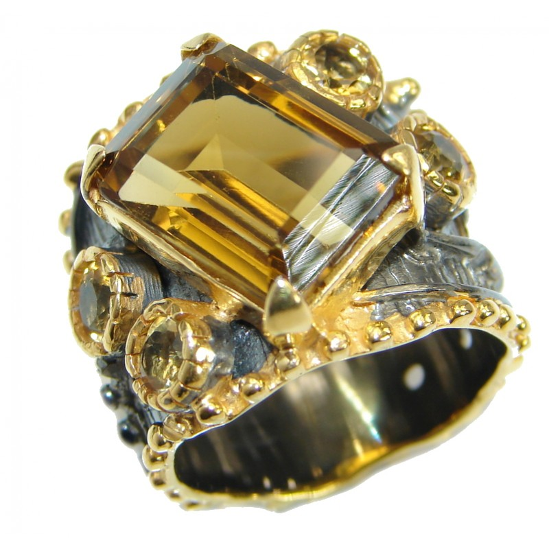 Genuine Citrine 14K Gold over .925 Sterling Silver Cocktail Ring size 6 1/2