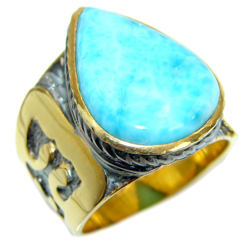 Genuine Larimar 14K Gold over .925 Sterling Silver handcrafted Cocktail Ring s. 6 1/4