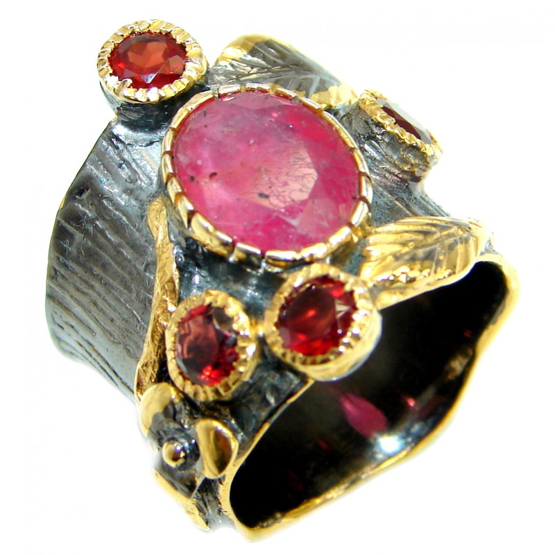 Large Authentic Ruby Rose Gold over .925 Sterling Silver ring; s. 6