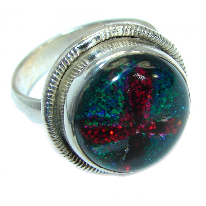 Dichroic Glass .925 Sterling Silver handmade ring size 8