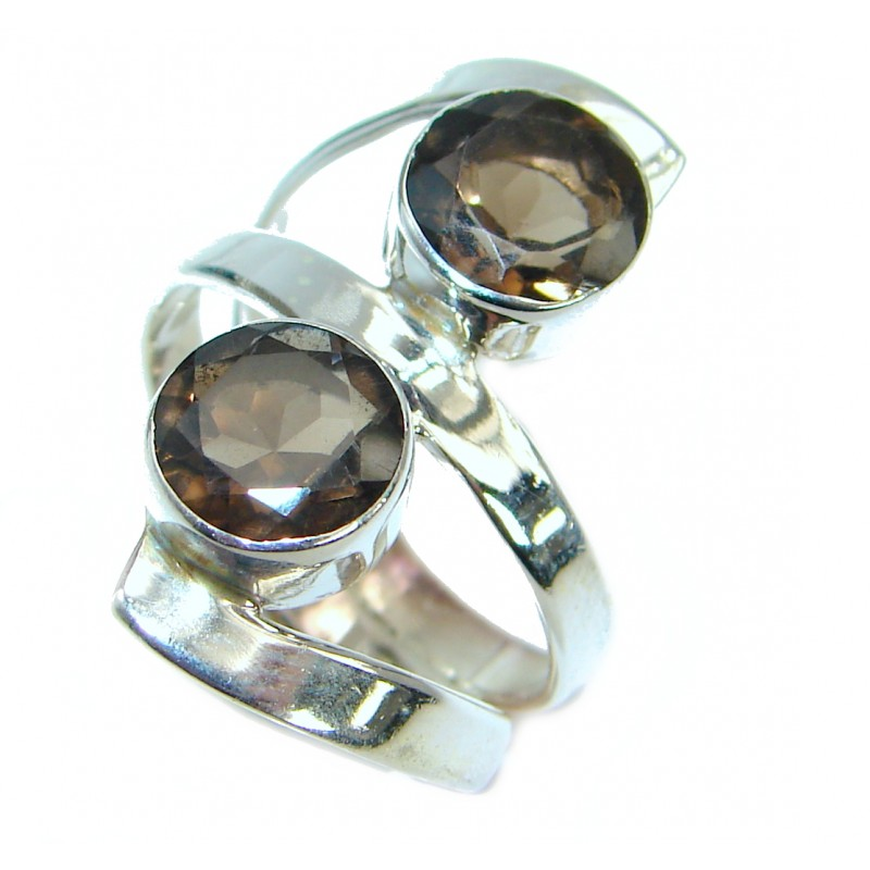 Exotic Smoky Topaz .925 Silver Ring s. 7 1/4