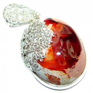 One of the kind Mexican Fire Opal .925 Sterling Silver handmade Pendant