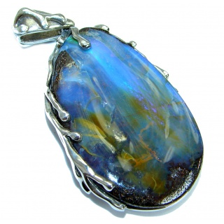 Authentic Australian Boulder Opal Oxidized .925 Sterling Silver handmade Pendant