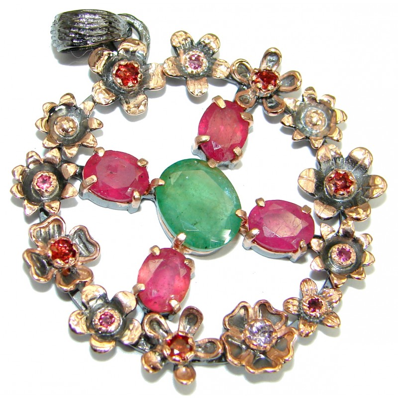 Vintage Style Ruby Emerald .925 Sterling Silver handmade Pendant