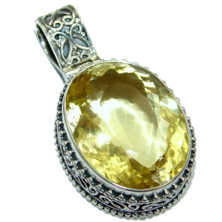 Vintage Design 60ct Genuine Citrine .925 Sterling Silver handcrafted pendant