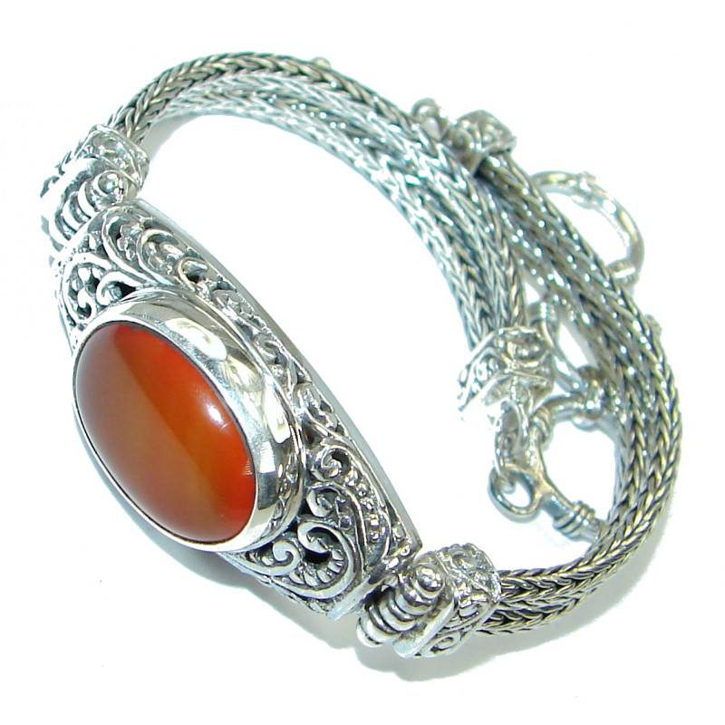 Sunset in Bali Authentic Carnelianb .925 Sterling Silver handamde Bracelet