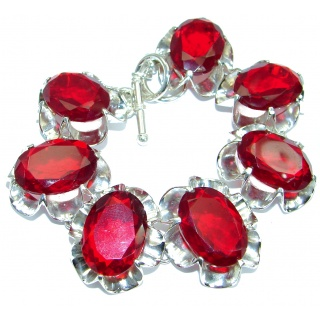 Huge Wild Cherry Rich Red Quartz .925 Sterling Silver handmade Bracelet