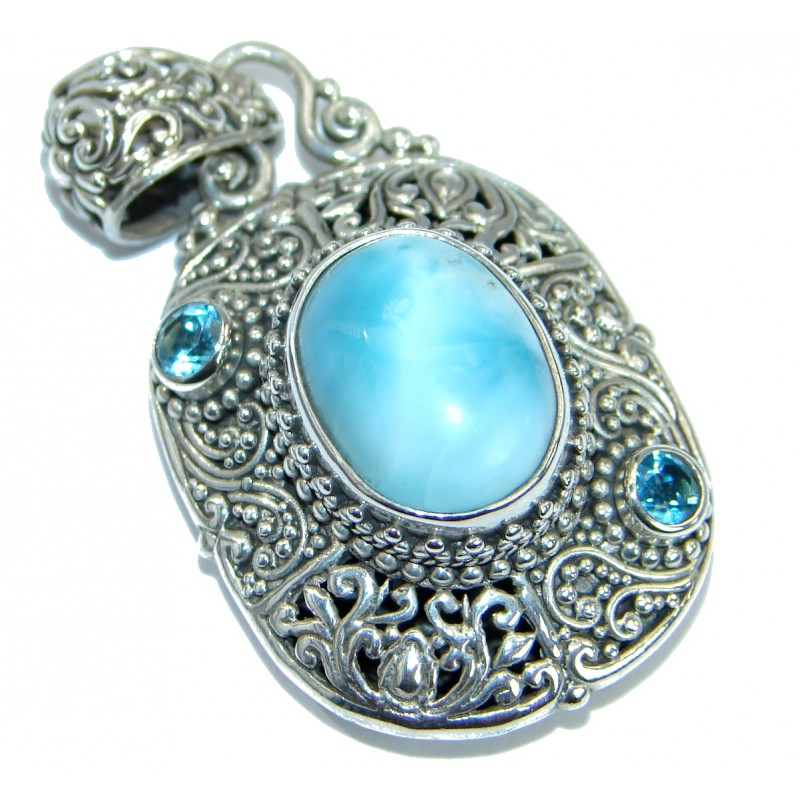 Best Quality Genuine Larimar .925 Sterling Silver handmade pendant