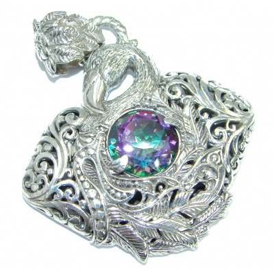 Graceful Swan genuine Magic Topaz .925 Sterling Silver handmade Pendant