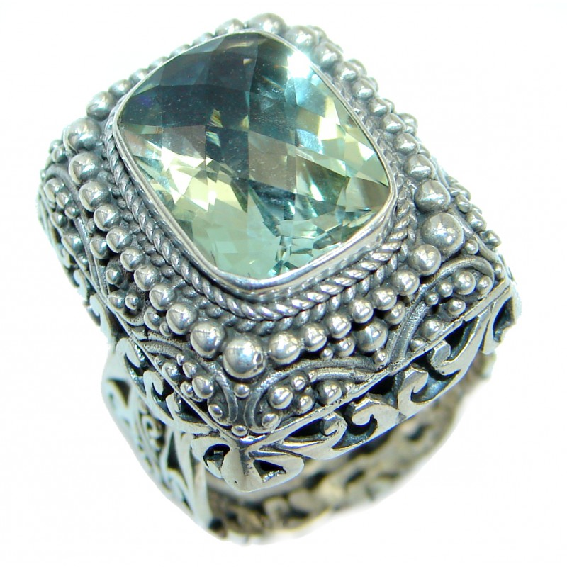 Genuine Green Amethyst .925 Sterling Silver handmade Cocktail Ring s. 7