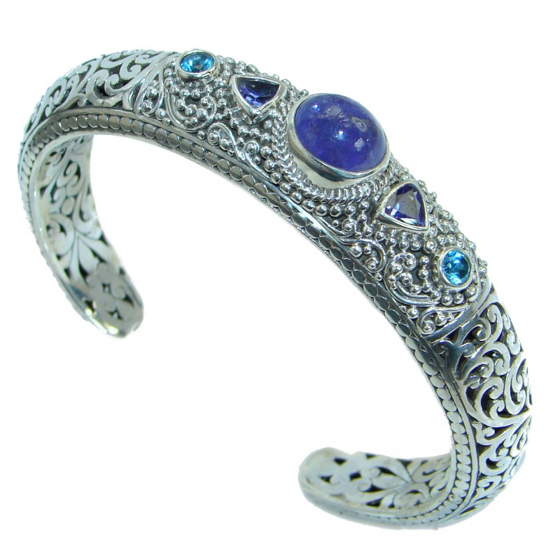Special Moment genuine Blue Tanzanite .925 Sterling Silver handcrafted Bracelet