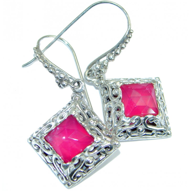 Rich Design Pink Passion Topaz .925 Sterling Silver handcrafted earrings