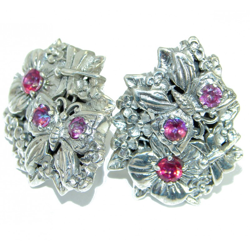 Rich Design Pink Passion Ruby .925 Sterling Silver handcrafted earrings