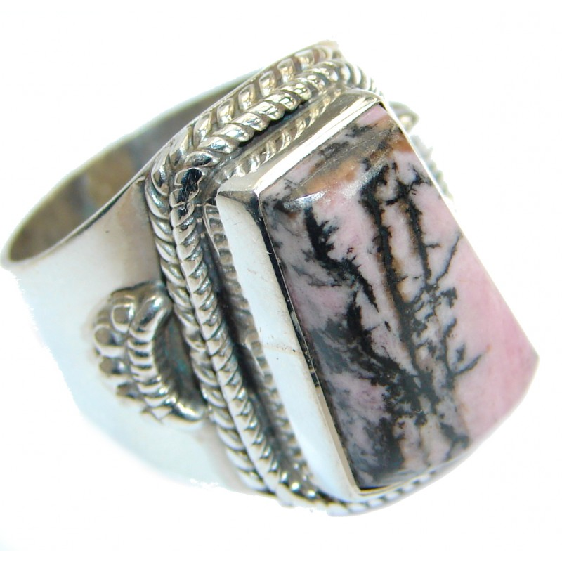 Big authentic Pink Rhodonite .925 Sterling Silver Ring s. 9
