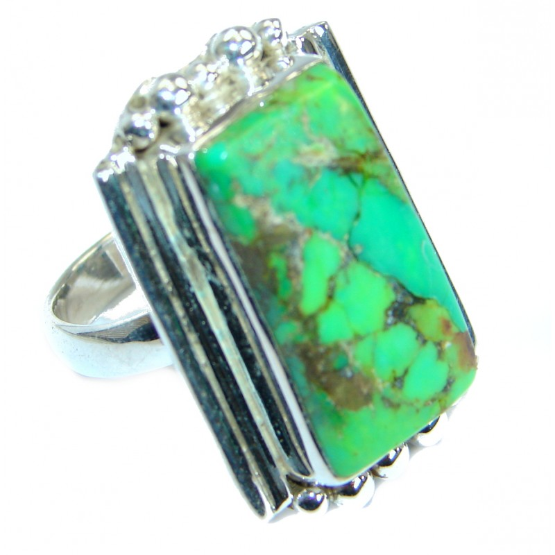 Green Turquoise .925 Sterling Silver handmade Ring s. 7