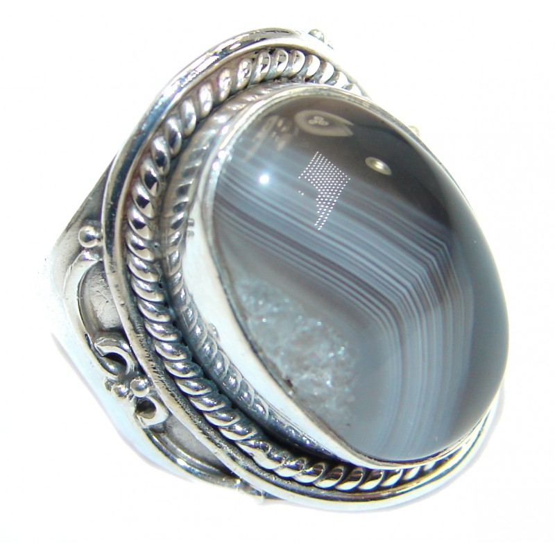 Great Botswana Agate .925 Sterling Silver hancrafted Ring s. 7
