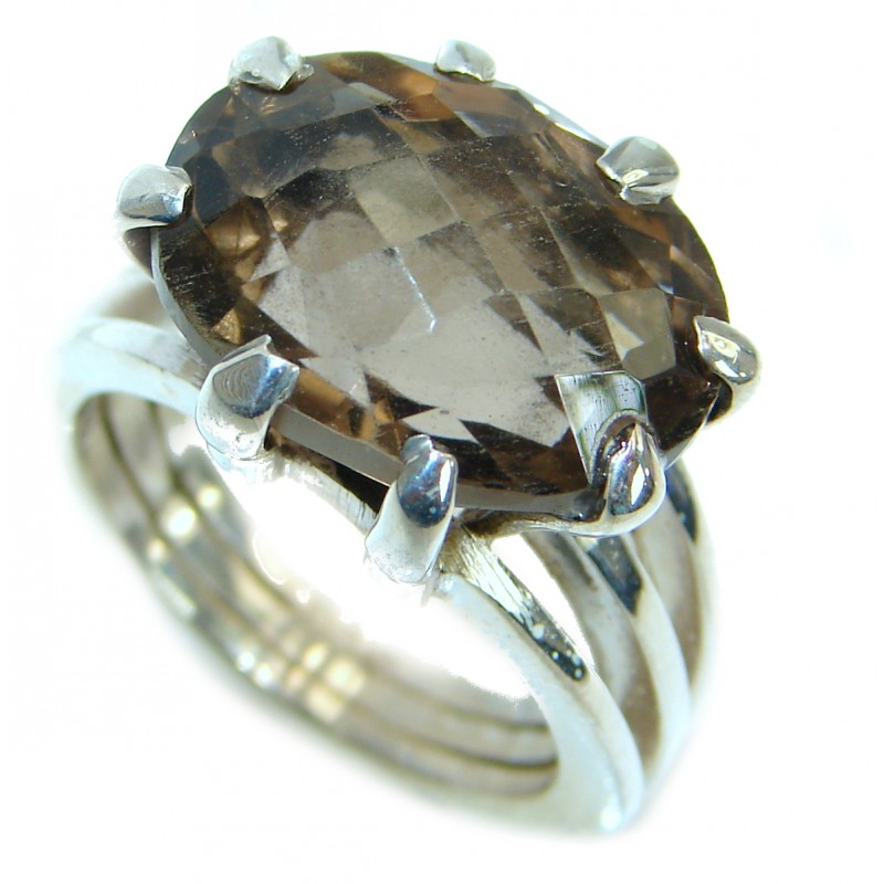 Huge Smoky Topaz .925 Sterling Silver Statement ring s. 6 1/4