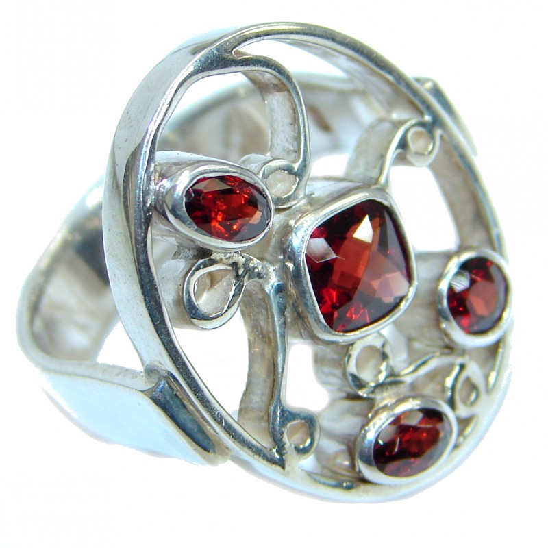 Genuine Garnet .925 Sterling Silver handmade Ring size 7