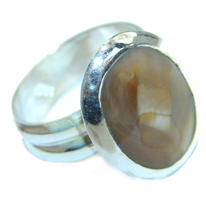 Amazing Golden Calcite Sterling Silver Ring s. 10
