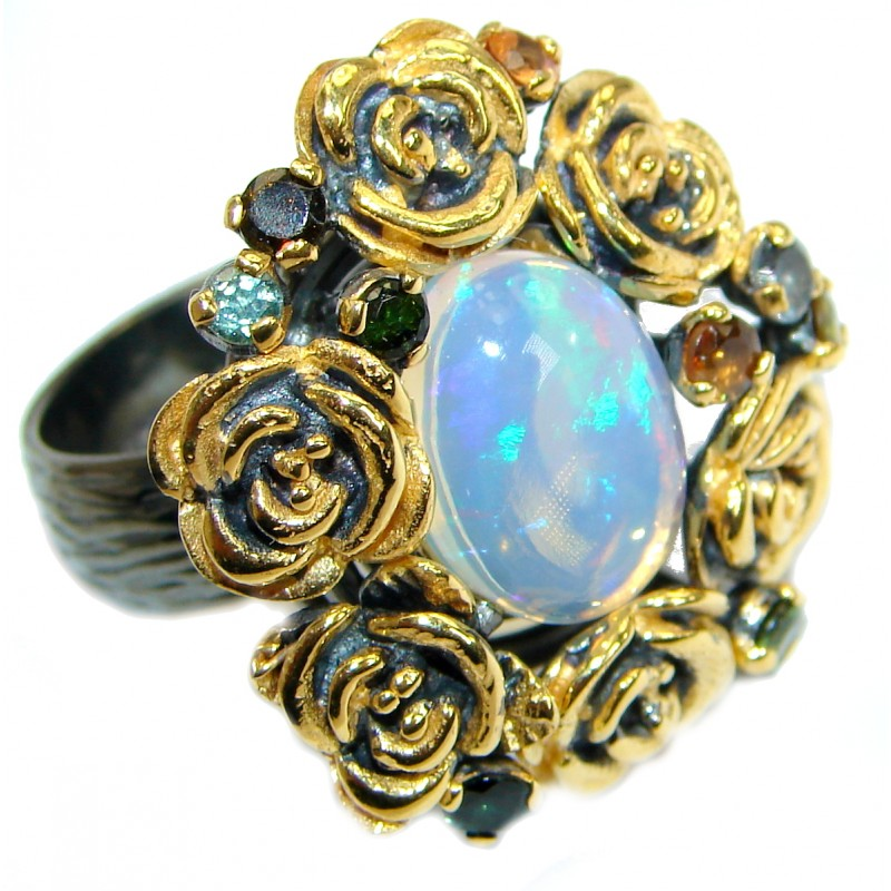 Natural 16.6ct Ethiopian Opal 18ct Gold Rhodium plated over Sterling Silver ring size 7 adjustable