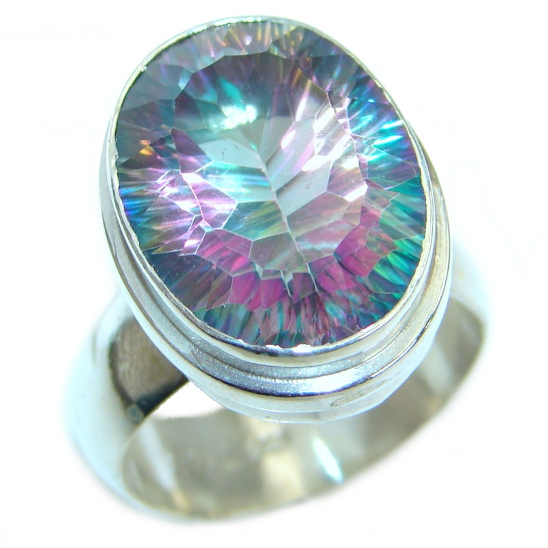 Bold Exotic Magic Topaz .925 Sterling Silver handmade Ring s. 10 1/4
