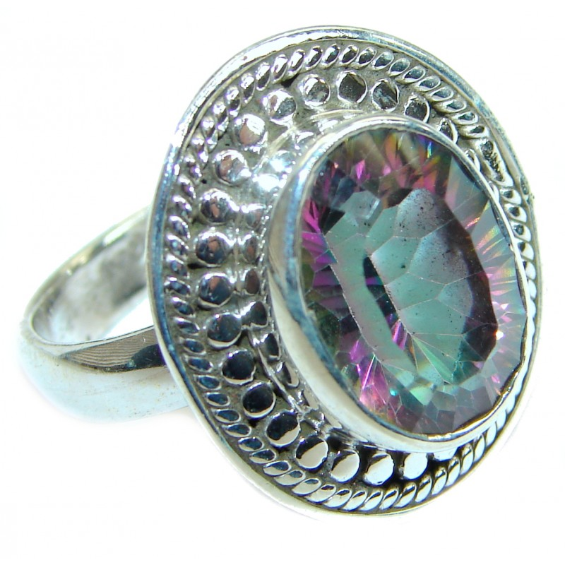 Exotic Magic Topaz .925 Sterling Silver handmade Ring s. 7 1/4