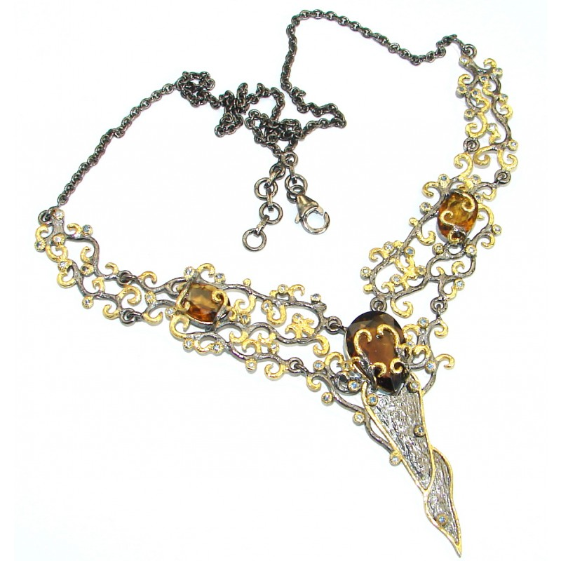 Luxurious Special Item Brazilian Natural Top Smoky Topaz .925 Silver handmade Necklace
