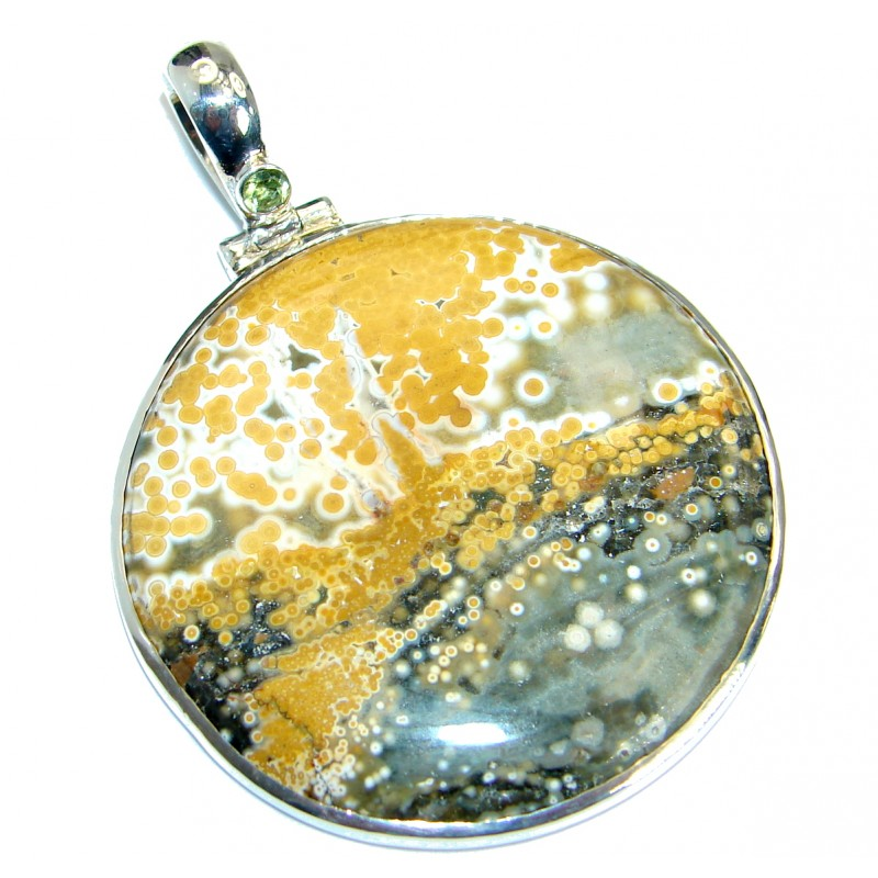 One of the kind Natural Ocean Jasper .925 Sterling Silver handmade Pendant