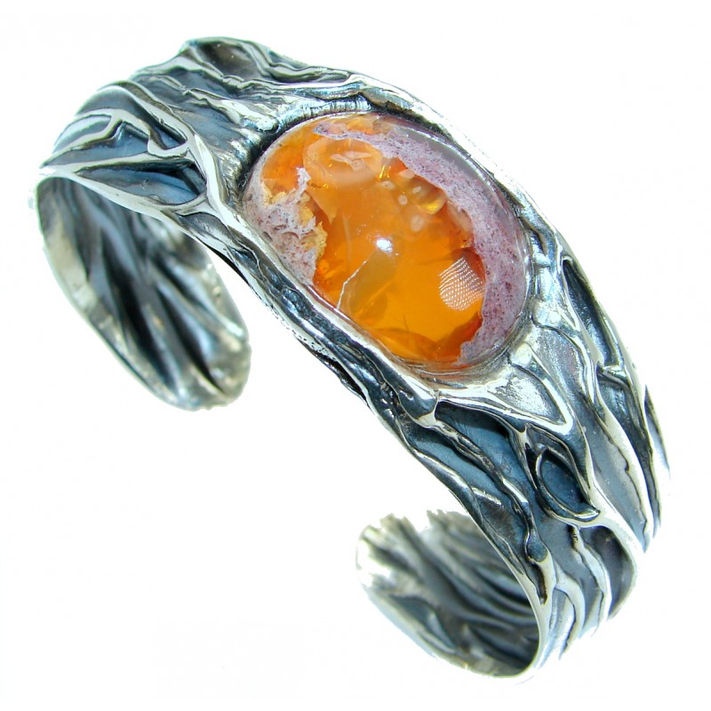 One of the kind Mexican Fire Opal Oxidized .925 Sterling Silver handcrafted Bracelet
