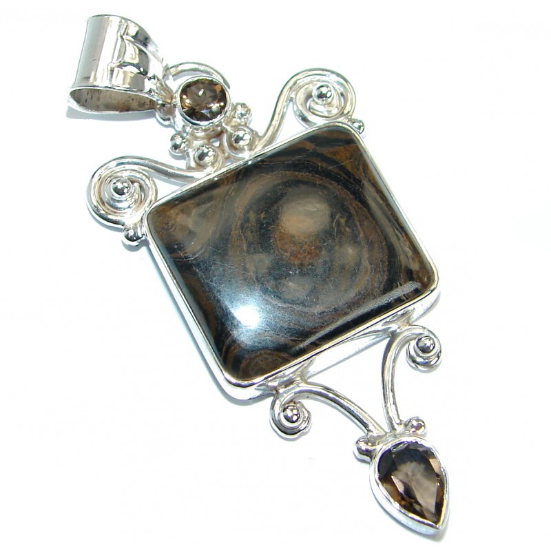 Natural Pietriefied Wood .925 Sterling Silver handmade Pendant