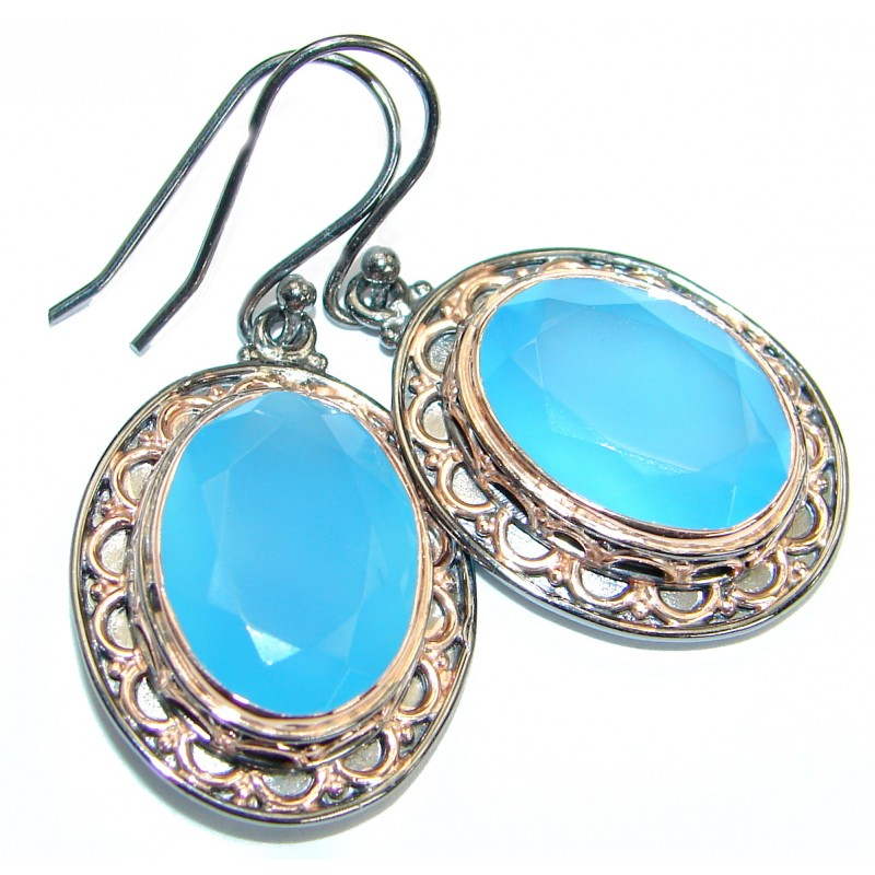 Exclusive Design Chalcedony Agate Gold Rhodium over .925Sterling Silver earrings