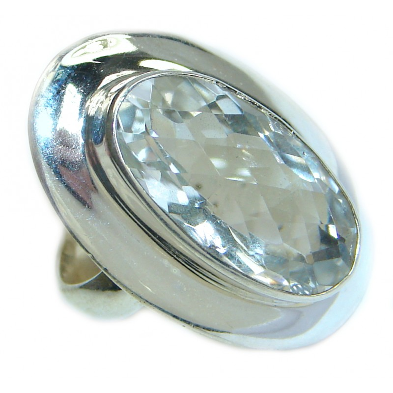 White Topaz .925 Sterling Silver handmade Statement Ring s. 8 1/4
