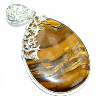 Incredible quality Golden Tigers Eye .925 Sterling Silver handmade Pendant