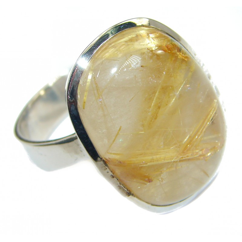 Golden Rutilated Quartz .925 Sterling Silver handcrafted Ring Size 9
