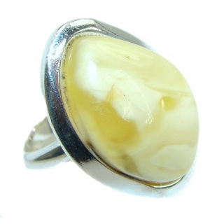 Genuine Butterscotch Baltic Polish Amber .925 Sterling Silver handmade Ring size 8