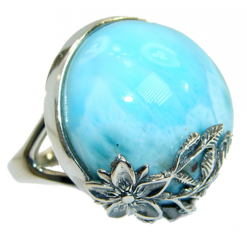 Pure Perfection Genuine Larimar .925 Sterling Silver handcrafted Ring s. 9