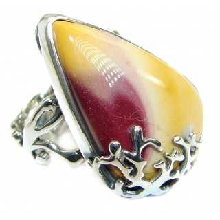 Flawless Australian Mookaite .925 Sterling Silver Statement Ring size 8 adjustable