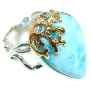 Genuine Larimar 14K Gold over .925 Sterling Silver handcrafted Ring s. 8 adjustable
